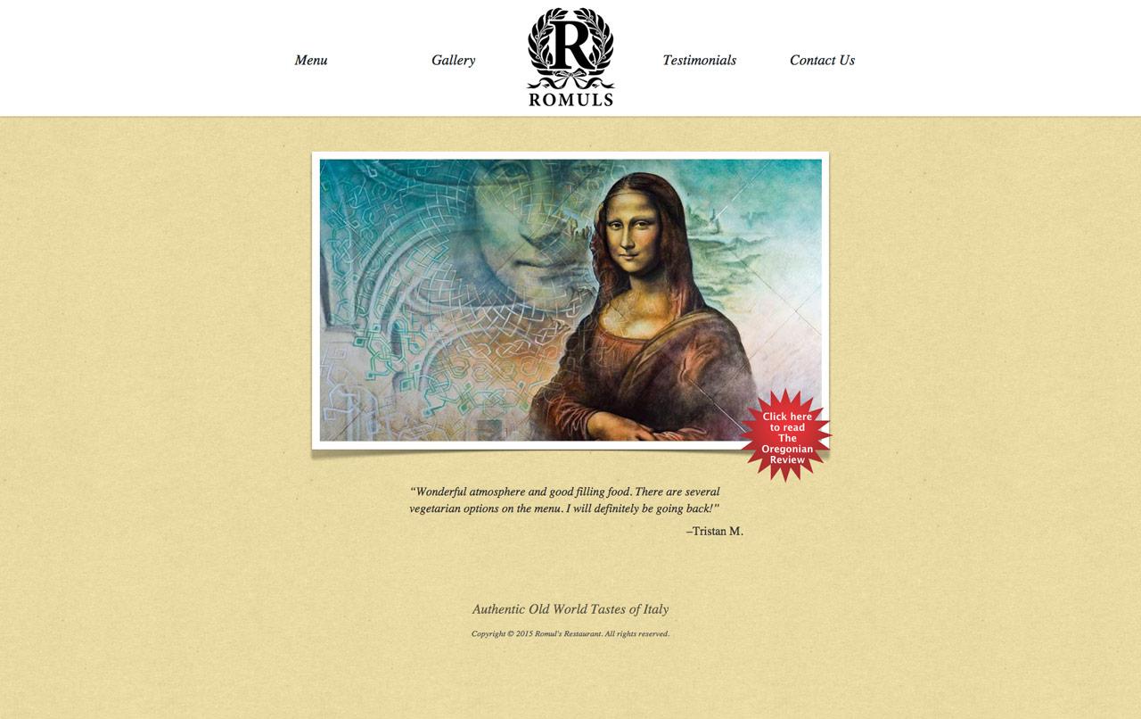 romuls italian food restaurant website main