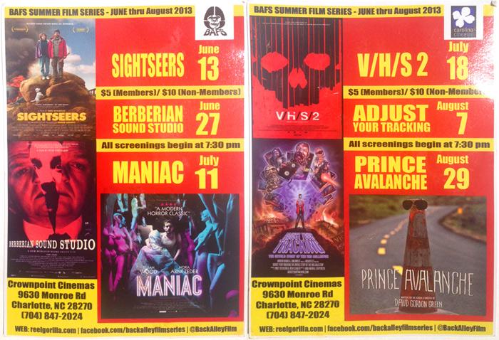 Back Alley Film Festival Summer 2013 Schedule